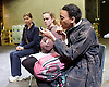 Beyond Caring <br /> by Alexander Zeldin<br /> at the Temporary Theatre (Shed), National, Theatre, London, Great Britain <br /> press photocall <br /> 30th April 2015 <br /> <br /> <br /> Janet Etuk as Grace<br /> <br /> Kristin Hutchinson as Susan <br /> <br /> Victoria Moseley as Becky <br /> <br /> <br /> <br /> Photograph by Elliott Franks <br /> Image licensed to Elliott Franks Photography Services