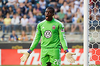 DC United goalkeeper Bill Hamid (28) looks for a call. DC United defeated Philadelphia Union 1-0 during a Major League Soccer (MLS) match at PPL Park in Chester, PA, on June 16, 2012.