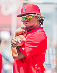 23 May 2015: Philadelphia Phillies outfielder Odubel Herrera stretches out prior to a game against the Washington Nationals at Nationals Park in Washington, DC. The Phillies defeated the Nationals 8-1 in the second game of their 3-game weekend series. Mandatory Credit: Ed Wolfstein Photo *** RAW (NEF) Image File Available ***