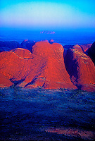 Aerial over the Olgas in the background Ayers Rock, Australia