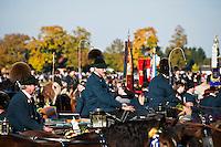 Men in traditional Lederhosen ride horses in parade at St. Coman festival, Saint Coloman Church, Schwangau, Bavaria, Germany