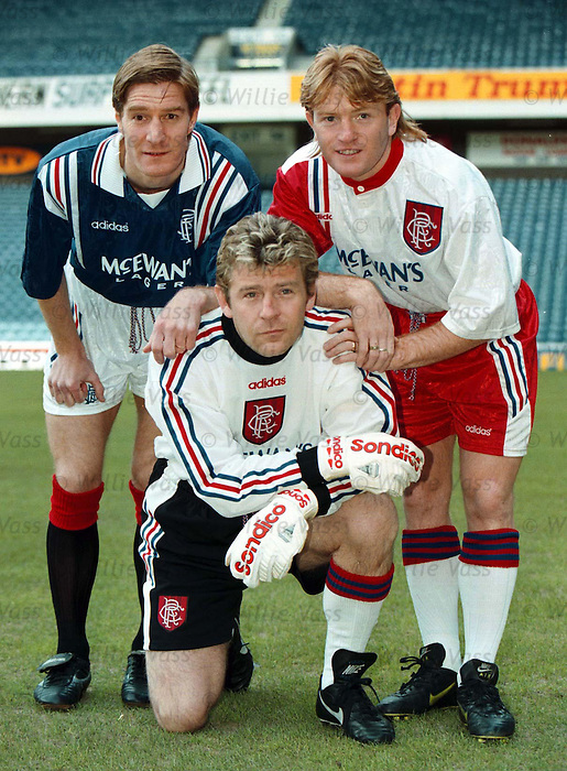 Rangers model their cup final Adidas strip for season 1996