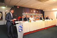 VOETBAL: ABE LENSTRA STADION: HEERENVEEN: 27-08-2013, Presentatie nieuw Stichtingsbestuur v.l.n.r.: Marcel Annema (Feanfan), Rikus de Vries (Aktie '67), Arjen Kuijt (NieuwNoord), René Groen (âld-spiler), Anne Hettinga (int. Voorzitter), Marco van Beek, Nutte Visser, Jeep Dijkstra (alle trije OSSH), Martin de Jong (frijwilligers) (niet aanwezig), ©foto Martin de Jong