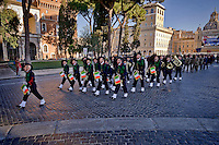 Roma, Italy. 17th January 2016 <br /> The Guard of Honor to the royal tombs  with the fanfare of the Bersaglieri.<br /> The Guard of Honor to the royal tombs of the Pantheon must keep alive the memory linked to house of Savoy , the Risorgimento , and national military traditions.  The National Institute for the Guard of Honour to the Royal Tombs of the Pantheon celebrates the 138th anniversary of its founding in 1878 , built to provide the service of guarding the tombs of the kings of Italy at the Pantheon.