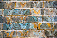 Coloured glazed terracotta brick panels from the staircase walls excavated from the Palace of Daius 1st Susa, present day Iran. From the reign of Darius 1st and the First Persian or Achaemenid Empire around 510 BC. Inv AOD 490-491, The Louvre Museum, Paris.