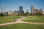 The Austin Skyline as seen from Butler Park, Austin, Texas, August 9, 2011. Buildings included in this view are the 360 Building, the W Hotel, Frost Bank Tower, and the Austonian.