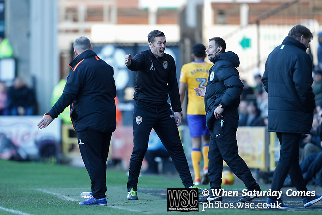 Notts County 0 Mansfield Town 0, 14/01/2017. Meadow Lane, League Two. Kevin Nolan Manager of Notts County berates Fourth Official David Webb. Photo by Paul Thompson.