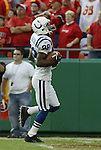 31 October 2004: The Colts' Marvin Harrison crosses the goal line late in the first period. The touchdown gave the Colts a 6-0 lead. The Kansas City Chiefs defeated the Indianapolis Colts 45-35 at Arrowhead Stadium in Kansas City, MO in a regular season National Football League game..