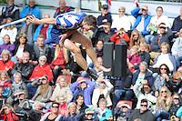 FIERLJEPPEN: IT HEIDENSKIP: 23-08-2014, Nederlands Kampioenschap Fierljeppen, Oane Galama, ©foto Martin de Jong