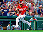 28 August 2010: Washington Nationals outfielder Michael Morse hustles home to score against the St. Louis Cardinals at Nationals Park in Washington, DC. Morse went 4 for 4 as the Nationals went on to defeat the Cards 14-5 taking the third game of their 4-game series. Mandatory Credit: Ed Wolfstein Photo