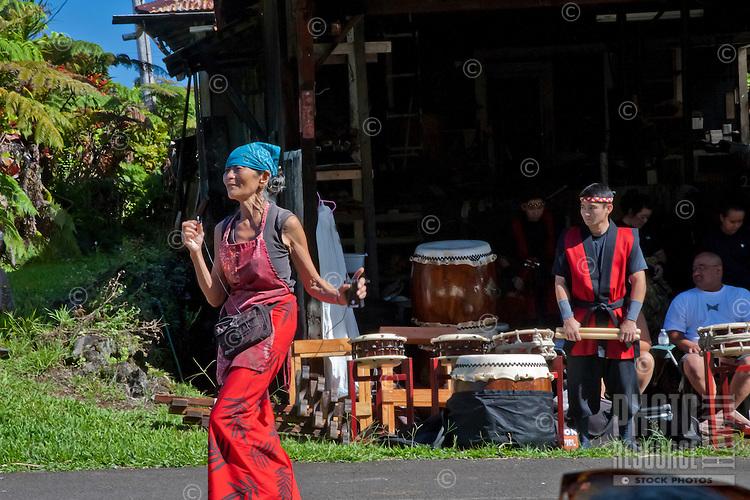 Akiko's Bed and Breakfast Mochi Pounding New Year's Event 2012 featuring Akiko and Hui Okinawa Kobudo Taiko, Big Island.