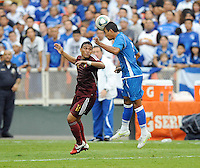El Salvador defender Xavier Garcia (2) heads the ball against Venezuela midfielder Jesus Lugo (11). El Salvador National Team defeated Venezuela 3-2 in an international friendly at RFK Stadium, Sunday August 7, 2011.