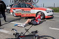 Tony Gallopin (FRA/Lotto-Soudal) crashed early and was forced to abandon the race<br /> <br /> 60th E3 Harelbeke (1.UWT)<br /> 1day race: Harelbeke &rsaquo; Harelbeke - BEL (206km)