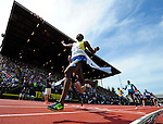 Ayanleh Souleiman of Djibouti crosses the finish line to win the Men's One Mile Run on the final day of the Prefontaine Classic at Hayward Field in Eugene, Oregon, USA, 30 MAY 2015. (EPA photo by Steve Dykes)