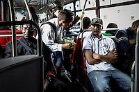 A man sells candies to people as they use the massive public transportation know as TRANSMILENIO in Bogota, Colombia.  05/15/2015. Eduardo MunozAlvarez/VIEWpress
