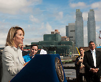 City Planning Commission chair Amanda Burden at the groundbreaking ceremony for the third segment of the High Line Park, covering West 30th to West 34th Streets in New York, on Thursday, September 20, 2012.The final phase of the popular park is scheduled to open in 2014 and over ten million visitors have toured the park since its opening in 2009.   (© Richard B. Levine)