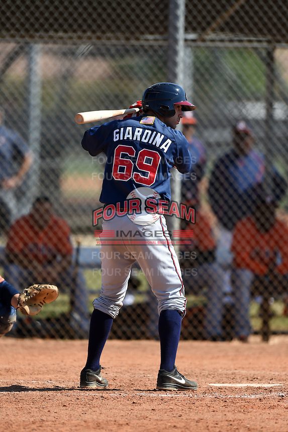 Atlanta Braves catcher Sal Giardina (69) during a minor league spring training game against the Houston Astros on March 29, 2015 at the Osceola County Stadium Complex in Kissimmee, Florida.  (Mike Janes/Four Seam Images)