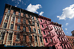 Colorful buildings, Greenwich Village, NYC, USA.