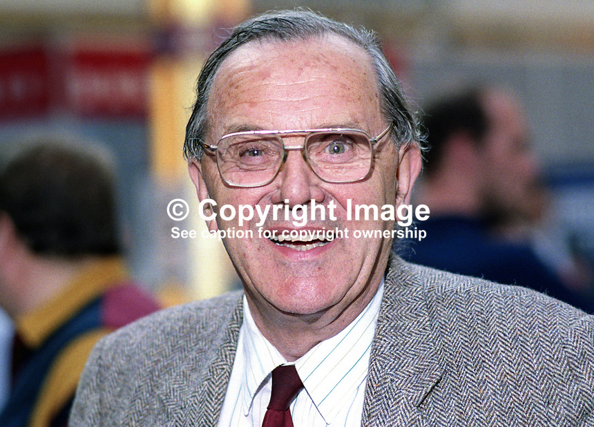 Merlyn Rees, who on retirement as a UK Labour Party MP in 1992 became Baron Merlyn-Rees of Morley and South Leeds, at his party's annual conference in Blackpool. 19921008MR.<br />