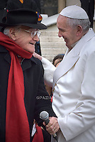 Italian singer Teddy Reno sing a special homage song to Pope Franci  during his weekly general audience in St. Peter square at the Vatican, Wednesday.December 16, 2015.