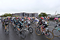The peloton makes its way past the Hepworth Wakefield on the start of stage 3 of the Tour de Yorkshire