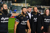 Guy Mercer and other Bath Rugby players look on in a post-match huddle. European Rugby Challenge Cup match, between Bath Rugby and Bristol Rugby on October 20, 2016 at the Recreation Ground in Bath, England. Photo by: Patrick Khachfe / Onside Images