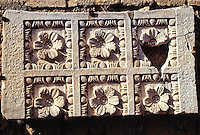 Carthage, Tunisia.  Roman Ruins, Antonin Baths, 2nd. Century A.D.  Stone Work, Flower Design.