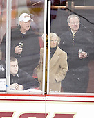 Jerry and Bobbie York watch some of the game with Tom Peters. - The visiting Boston University Terriers defeated the Boston College Eagles 1-0 on Sunday, November 21, 2010, at Conte Forum in Chestnut Hill, Massachusetts.