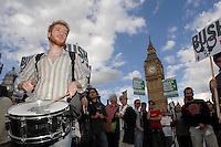 A protest called by the Stop the War Coalition and CND decends into chaos after Police prevent marchers from going down Whitehall. Riot Police were deployed. 25 protesters were arrested and many more injured.