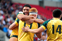 Campbell Magnay of Australia U20 is congratulated on his try. World Rugby U20 Championship 5th Place Play-Off between Australia U20 and New Zealand U20 on June 25, 2016 at the AJ Bell Stadium in Manchester, England. Photo by: Patrick Khachfe / Onside Images