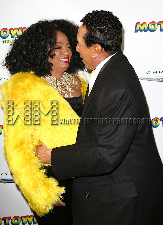 Diana Ross & Smokey Robinson  attending the Broadway Opening Night Performance of 'Motown The Musical'  at the Lunt Fontanne Theatre in New York City on 4/14/2013...