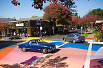 "The intersection of State Street and Fourth Street in downtown Los Altos was transformed into a giant canvas for Jessica Stockholder's ""Cross Hatch."" For a video of the artwork as it took shape, visit losaltosonline.com."