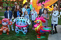 PHILADELPHIA, PA - MAY 8 : Pictured are students Samantha Ehling, Kylie Annau and Najila Void, whose designs have been turned into lanterns at the Philadelphia Chinese Lantern Festival in Franklin Square in Philadelphia, Pa on May 8, 2017  photo credit Star Shooter/MediaPunch