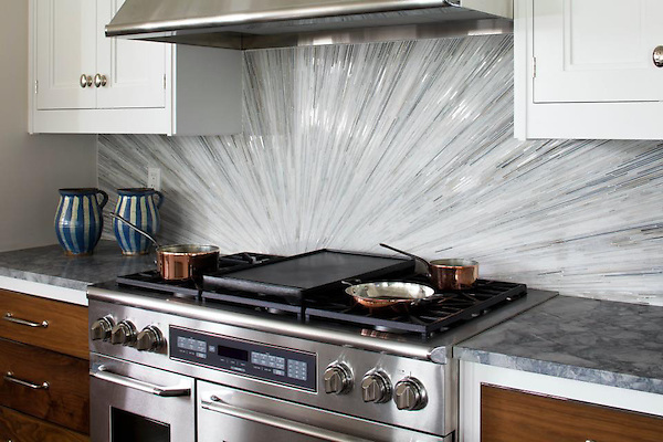 Tatami Radiance, a hand cut natural stone mosaic, is shown in Bardiglio, Horizon, Cashmere, Carrara, and Calacatta Tia polished.-not available in glass<br />  <br /> Installed in the 2012 Hampton Designer Showhouse, Water Mill, NY presented by Traditional Home.