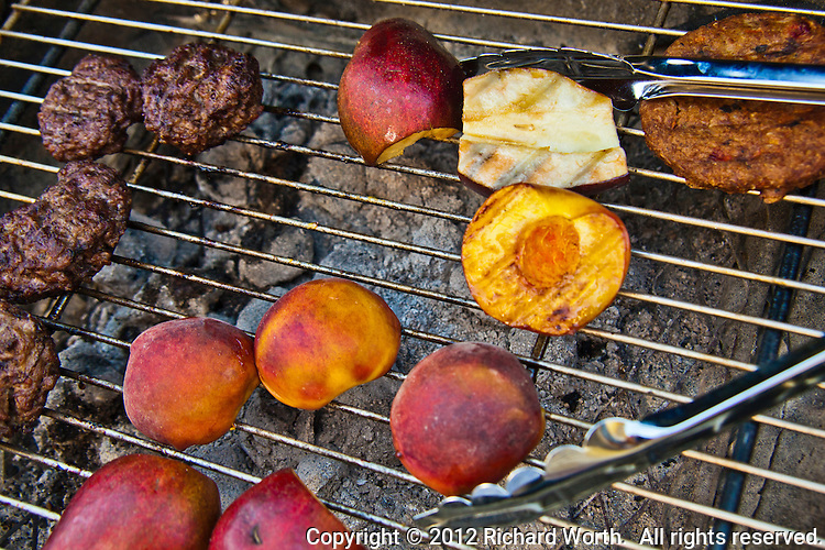 Hamburgers, garden burger and inbetween, fruit?  Sure - grill up some pears and peaches.