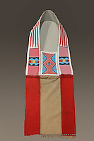 Bandolier Bag, c. 1865-75, by an Ute craftsman, made from glass beads, cotton, wool and buffalo hide, bought by the Native Art Acquisition Fund, 1947, at the Denver Art Museum, Denver, Colorado, USA. Bandolier bags are large, heavily beaded pouches with a slit at the top and a beaded strap worn diagonally over the shoulder. Traditionally, porcupine quills would have been used before glass beads were introduced. Picture by Manuel Cohen