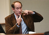 Forensic pathologist, Dr. Michael Cramer, who did an autopsy on the body of Hong Im Ballenger, describes her wounds during his testimony in the trial of Sniper suspect John Allen Muhammad, at the Virginia Beach Circuit Court  in Virginia Beach, Virginia on October 24, 2003. <br /> Credit: Davis Turner - Pool via CNP