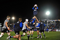 The Bath Rugby forwards practise their lineout during the pre-match warm-up. European Rugby Challenge Cup match, between Bath Rugby and Cardiff Blues on December 15, 2016 at the Recreation Ground in Bath, England. Photo by: Patrick Khachfe / Onside Images
