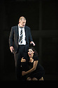Edinburgh, UK. 23.08.2013. Oper Frankfurt presents BLUEBEARD'S CASTLE, by Bartok,  as part of the Edinburgh International Festival. Robert Hayward as Bluebeard and Anja Ariane Bumgartner as Judith. Photograph © Jane Hobson.