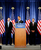 Chicago, IL - November 25, 2008 -- United States President-elect Barack  Obama presents his economic team, Peter Orszag, left, as Director of the Office of Management and Budget (OMB) and Rob Nabors, right, Deputy Director of OMB at his third press conference at the Chicago Hilton & Towers in Chicago, Illinois on Tuesday, November 25, 2008..Credit: Steve Leonard - Pool via CNP