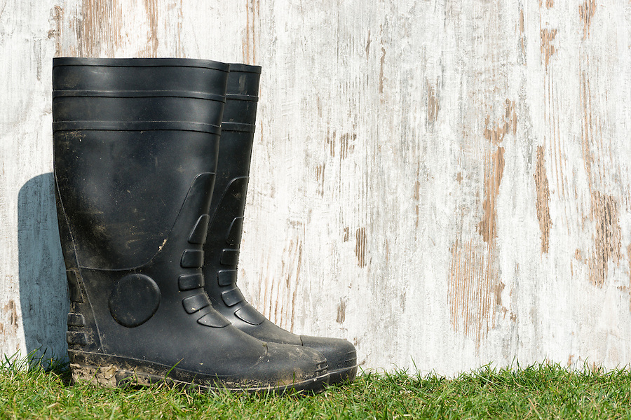 wheathered wood on a field of grass and a pair of rubber boots