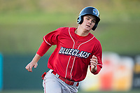 Mickey Moniak (22) of the Lakewood BlueClaws hustles towards third base against the Kannapolis Intimidators at Kannapolis Intimidators Stadium on April 7, 2017 in Kannapolis, North Carolina.  The BlueClaws defeated the Intimidators 6-4.  (Brian Westerholt/Four Seam Images)