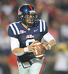 Mississippi quarterback Jeremiah Masoli looks to pass against Fresno State during an NCAA college football game at Vaught-Hemingway Stadium in Oxford, Miss. on Saturday, Sept. 25, 2010. (AP Photo/Oxford Eagle, Bruce Newman)  ** MAGS OUT, NO SALES, MANDATORY CREDIT **