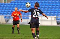 Abby Wambach traps the ball.  The USA captured the 2010 Algarve Cup title by defeating Germany 3-2, at Estadio Algarve on March 3, 2010.