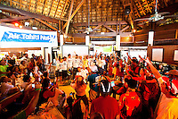 Party scene with visitors receiving awards for the Tahiti Pearl Regatta