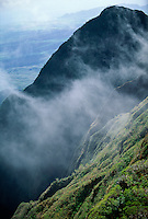 Aerial view of Mount Waialeale (1 of 3 rainiest places on world) in Kauai, Hawaii, USA.