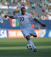 Cuba's Roberto Linares shoots the ball.  El Salvador defeated Cuba 6-1 at the 2011 CONCACAF Gold Cup at Soldier Field in Chicago, IL on June 12, 2011.