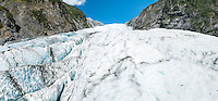 Ice waves, crevasses on top of terminus of Franz Josef Glacier, Westland Tai Poutini National Park, West Coast, UNESCO World Heritage Area, New Zealand, NZ