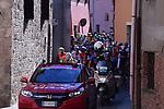 The start of Stage 4 of the 2017 Tirreno Adriatico running 187km from Montalto di Castro to Terminillo, Italy. 11th March 2017.<br /> Picture: La Presse/Gian Mattia D'Alberto | Cyclefile<br /> <br /> <br /> All photos usage must carry mandatory copyright credit (&copy; Cyclefile | La Presse)