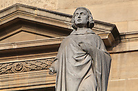 Statue of Pierre Abelard, 1079-1142,author, by Jules Cavelier, at the Turgot Wing, in the Cour Napoleon at the Musee du Louvre, Paris, France. A series of 86 statues of famous men were placed in this courtyard 1853-57 under the architects Louis Visconti and Hector Lefuel. Picture by Manuel Cohen